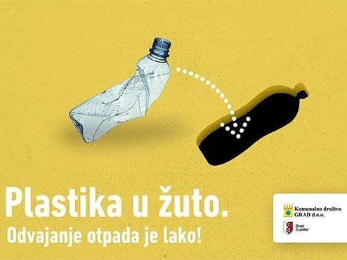 Ilustracija deponiranja plastike u žute spremnike za otpad
